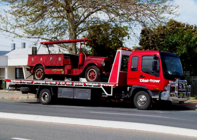A fire truck being towed