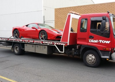 Towing a Ferrari 458 - we provide prestige car towing services across Australia