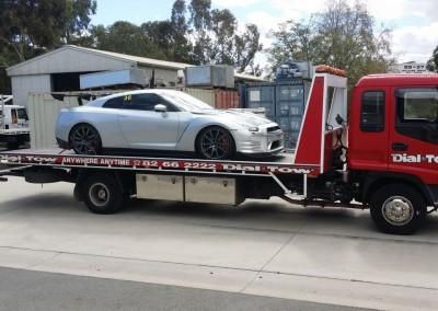 Towing a Nissan GTR - we provide prestige car towing services across Australia