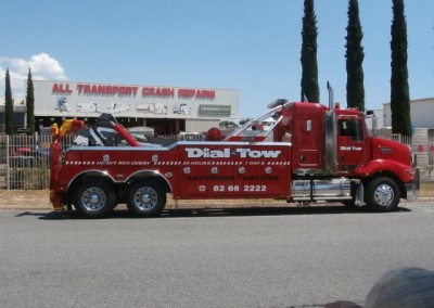 Our modern, fully-equipped, tilt truck for towing heavy vehicles over long distances