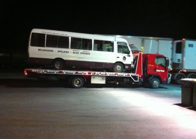 Towing a tourist bus which broke down on its way to Adelaide from ALice Springs