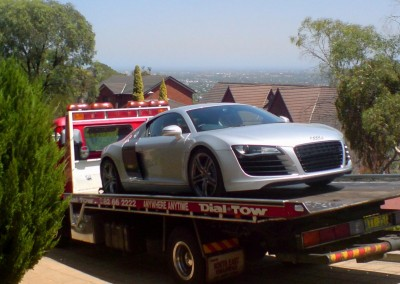 Towing an Audi R8 on one of our car towing trucks