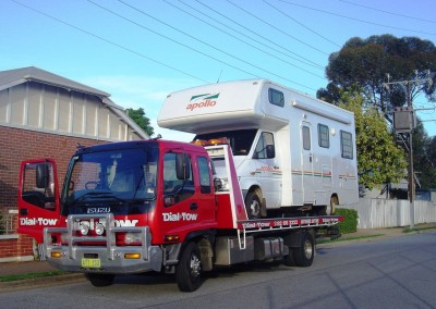 Dial-a-Tow transporting a caravan purchased by a Melbourne family from an Adelaide-based seller