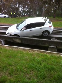 An accident car recovered from the O-Bahn tracks in Adelaide